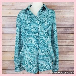 Micheal Kors Long Sleeve Button Down Paisley Top